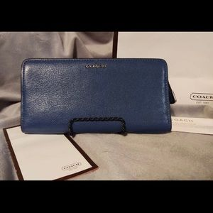 Coach Cornwall blue Saffiano wallet